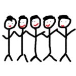 Stick figures swaying and singing together