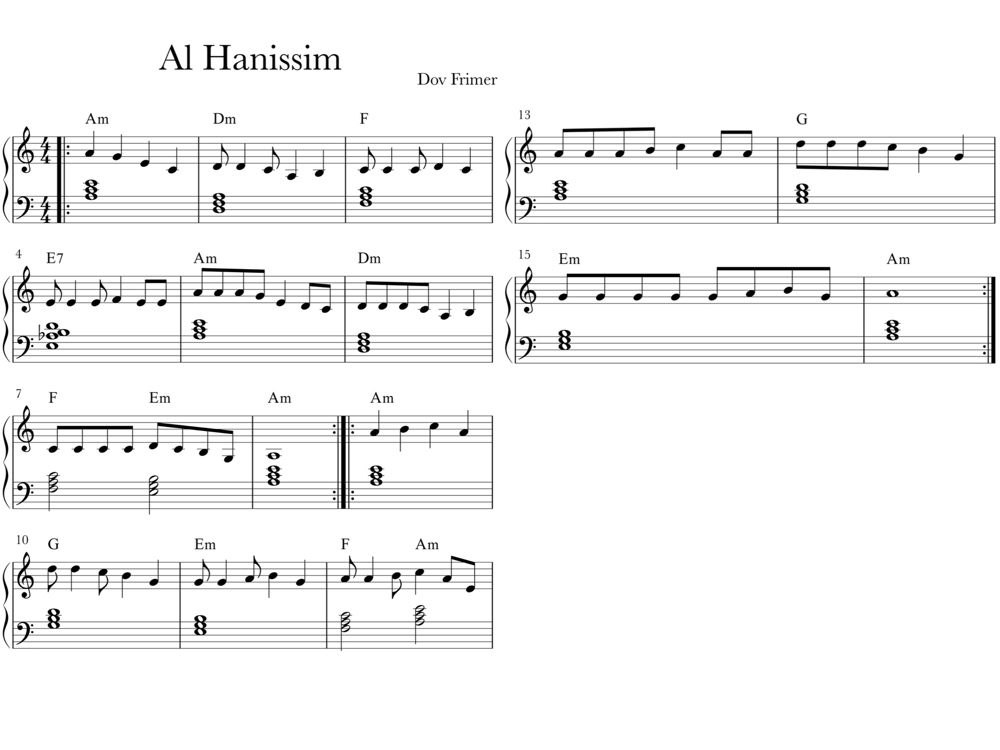 Sheet music for Al Hanissim with block chords