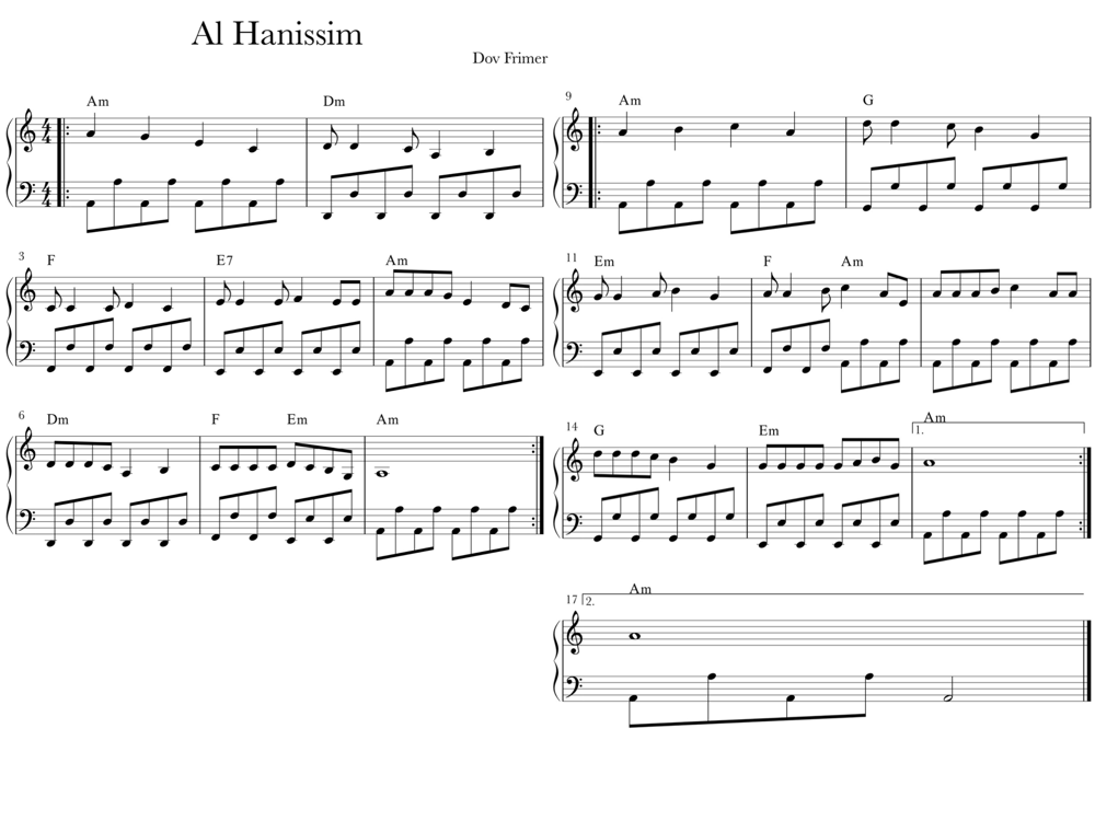Sheet music for Al Hanissim with Octaves in LH