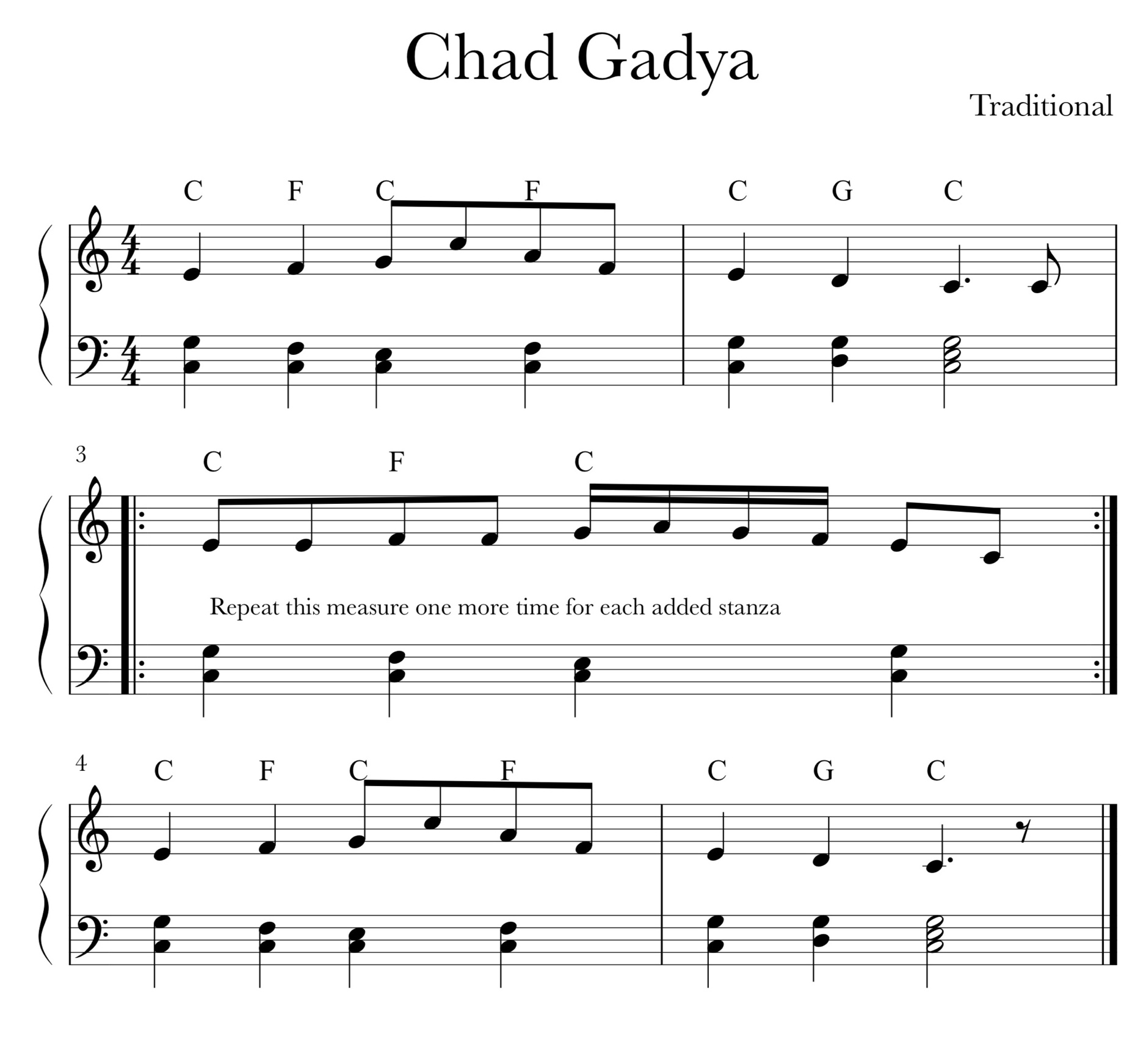 Sheet Music for Chad Gadya